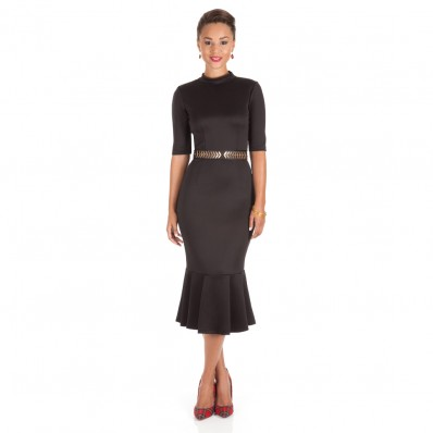 Black Trumpet Midi Dress - Shoxie.com