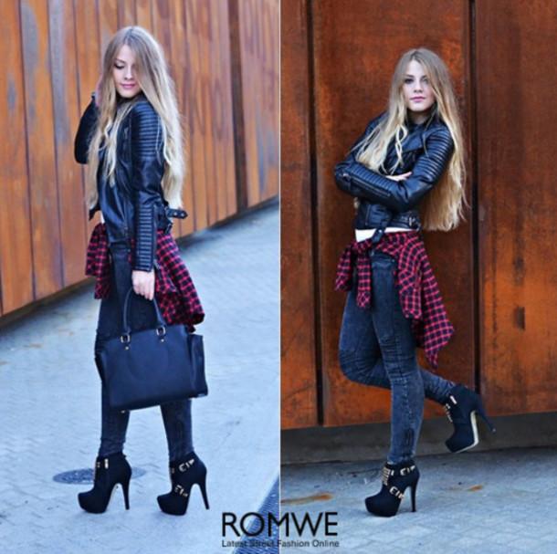 jacket romwe black lether jacket black