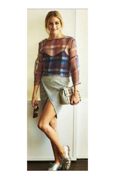 sunglasses olivia palermo shirt skirt shoes purse bag blouse