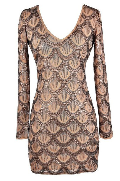 dress peach gold sparkle sequins long sleeves