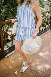 romper,hat,tumblr,blue romper,stripes,striped romper,sun hat,shoes,slide shoes
