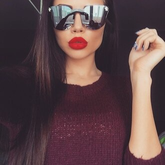 sunglasses versace red lipstick dope hot sexy burgundy black sunglasses burgundy sweater