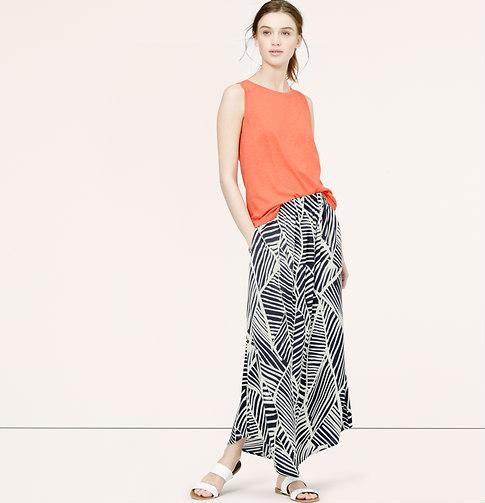 sketched palm maxi skirt loft