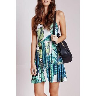 dress printed dress leaf print green back to school cool sleeveless skater skirt casual casual dress preppy backpack boots zaful