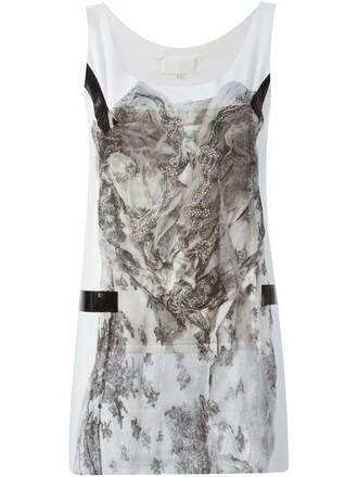 tank top top lace floral print white