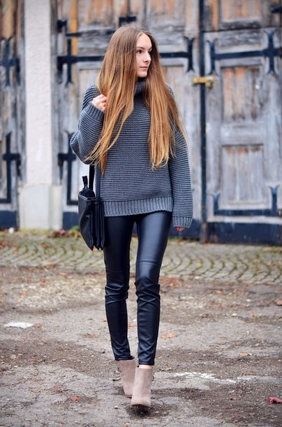 by annna blogger leather pants grey sweater knitted sweater sweater pants shoes