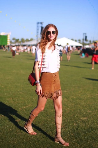 skirt brown coachella daim summer dress leather fringes chiara chiara ferragni