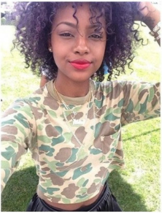 clothes camouflage gold swag sweater curly hair crop tops t-shirt duck camo