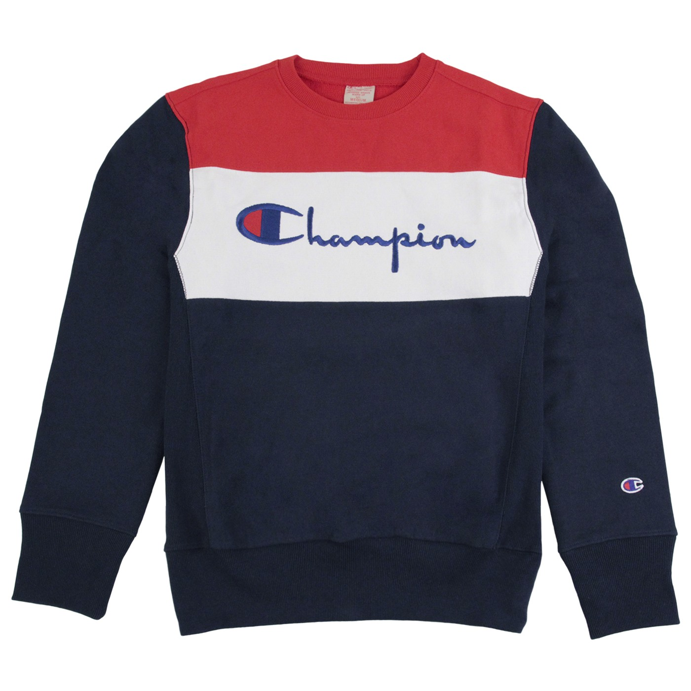 Panel Crew Neck Sweatshirt in Navy / White / Red by Champion