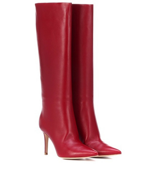 Gianvito Rossi Suzan 85 leather boots in red