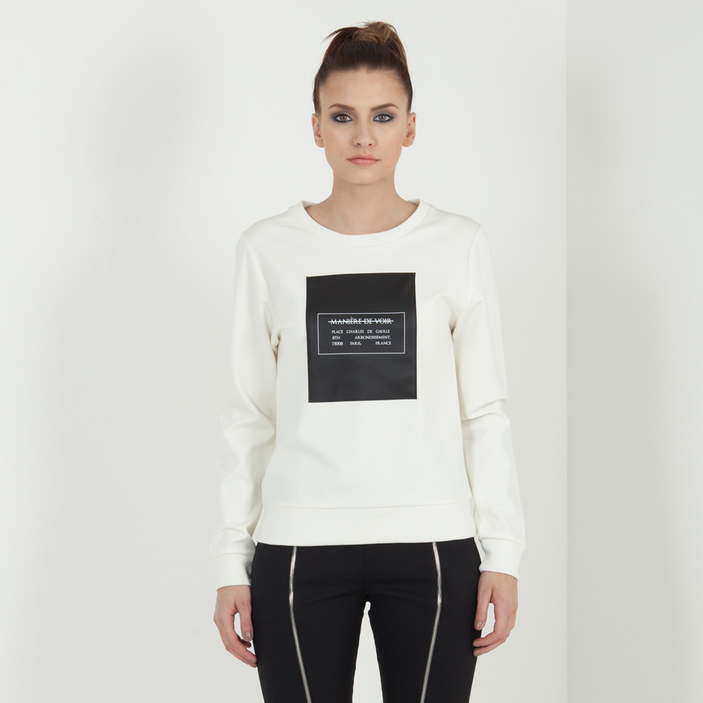 Leather Panel Jumper - Off White