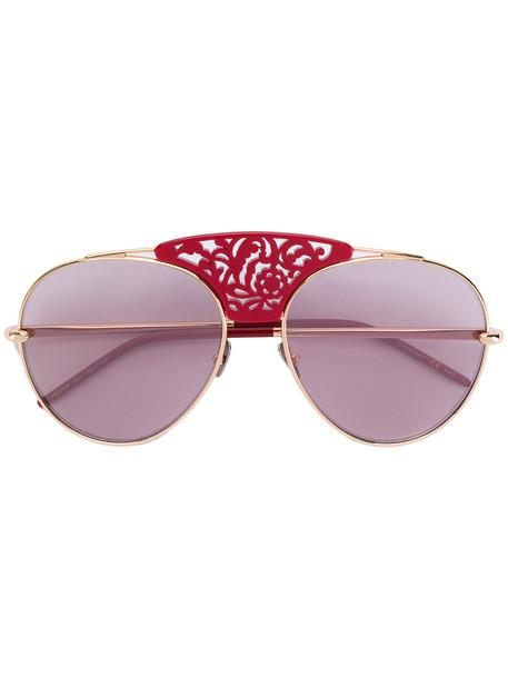 Pomellato laser cut aviator sunglasses - Red