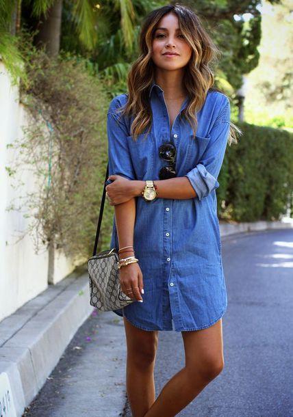 shirt blue denim shirt denim blue shirt long shirt sunglasses summer watch bracelets purse long sleeves pinterest ring