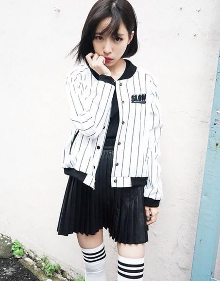 jacket white fashion black skirt kawaii kawaii dark socks kawaii grunge