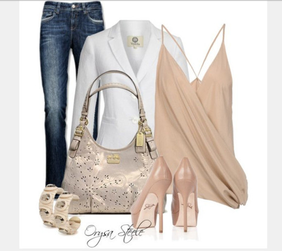 blazer white blazer clothes jeans high heels bag shoes pants tank top top spaghetti strap cross over top draped top peach top racerback tank top purse bracelets pumps peach pumps outfit v neck top low cut