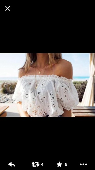 top white crop tops summer top off the shoulder top flowered holes peasant top