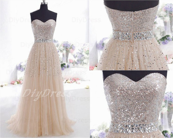Sequins Lace Bodice Prom DressesBeaded Waistband Prom by DiyDress