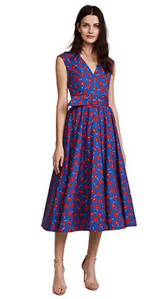 alice + olivia dress midi dress midi floral blue