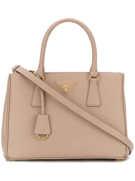 Prada - Galleria tote bag - women - Calf Leather - One Size, Nude/Neutrals, Calf Leather