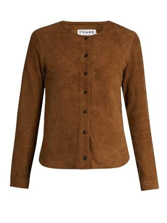 shirt suede camel top
