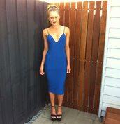 dress,blue,midi dress,spaghetti strap,royal blue,shoes