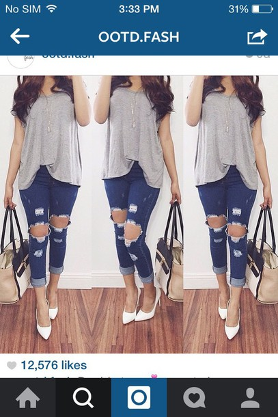 jeans black and white grey bag shoes blouse