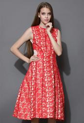 dress,entrancing,red,crochet,sleeveless,midi dress