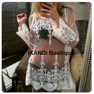 top crochet top lace top embroidered top white top white kimono cover up beach cover up swimwear white sweater white swimwear crochet lace mesh top tunic kimono wrap top fashion trendy