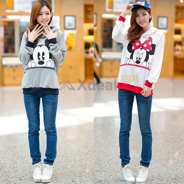 Xd#3 girls womens mickey minnie mouse ear emo sweater shirt jumper hoodie casual
