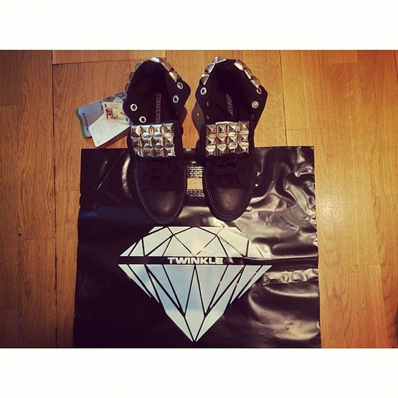 shoes black twinkle converse stud silver diamonds