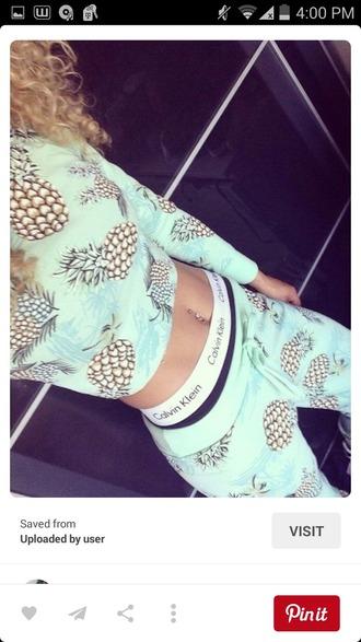 jumpsuit pineapple print mint
