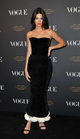 dress strapless bustier dress gown prom dress kendall jenner fashion week sandals shoes