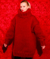 sweater,supertanya,red,hand,made,knit,mohair,thick,turtleneck,angora,wool,cashmere,alpaca