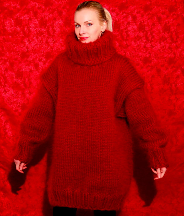 sweater supertanya red hand made knit mohair thick turtleneck angora wool cashmere alpaca