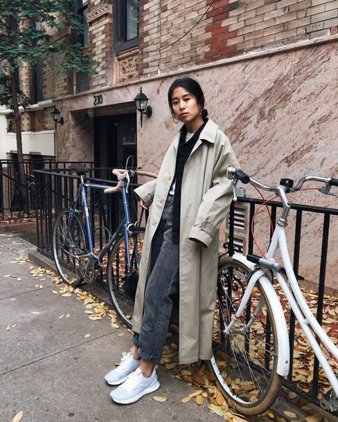 coat tumblr trench coat nude coat denim jeans grey jeans sneakers blue sneakers low top sneakers oversized coat oversized