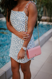 dress,tumblr,mini dress,polka dots,slip dress,summer dress,bracelets,silver bracelet,jewelry,accessories,Accessory,bag,jewels