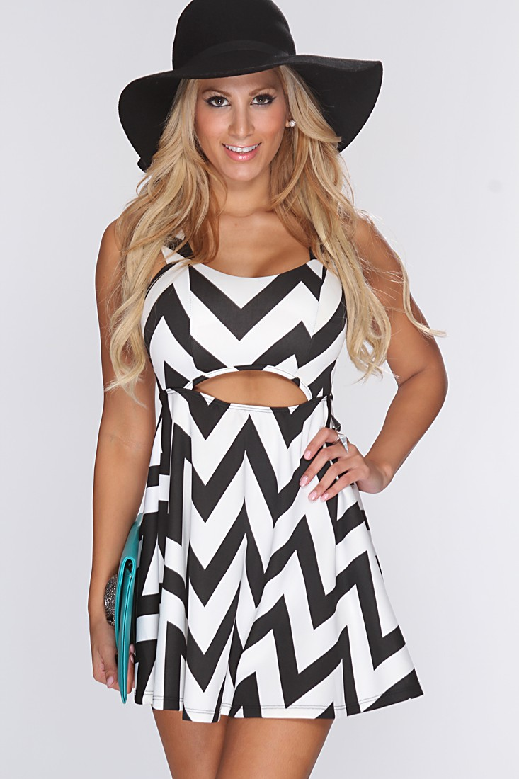 Black Chevron Print Skater Dress @ Amiclubwear sexy dresses,sexy ...