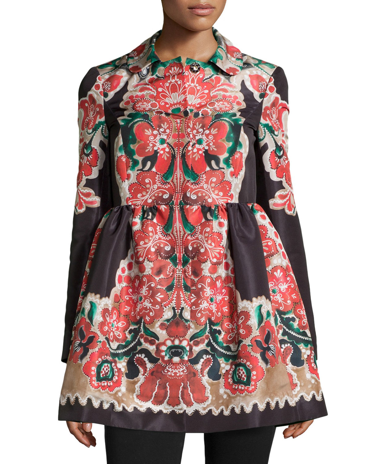 Floral-Print Bow-Detailed Coat, Flame