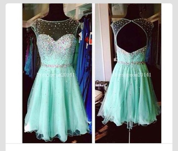 mint homecoming dress sparkle