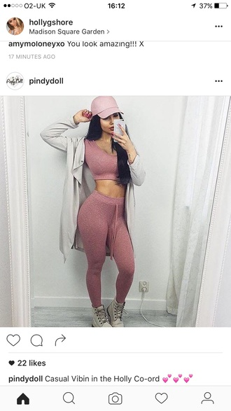 jumpsuit knitwear pink two piece pantsuits