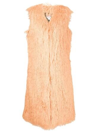 jacket sleeveless long yellow orange