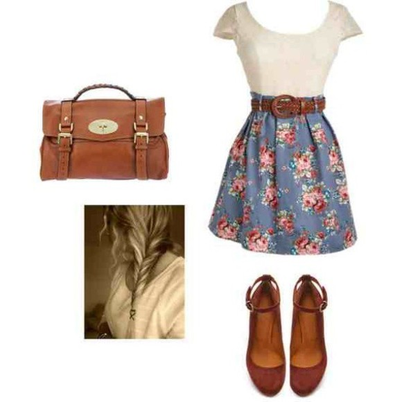 shoes ballerinas bag vintage leather dress floral floral dress leather belt