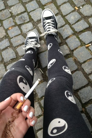 yin yang tights yin yang yang black