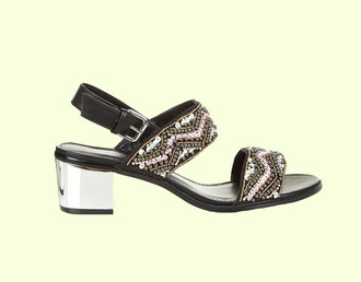 shoes embellished embroidered shoes embroidered black shoes sandals black sandals low heel sandals block heel sandals