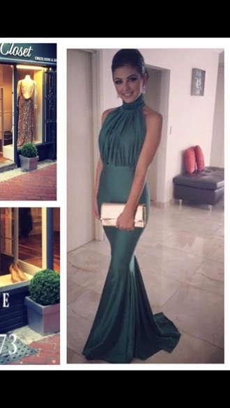 dress green dress halter neck dress silk prom debs ball gown dress evening dress green bag turtleneck mermaid elegant dress simple dress stylish creased smooth trail prom dress