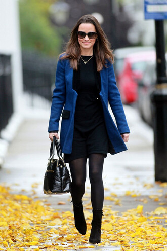 coat winter outfits black blue