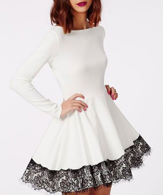 dress black lace long sleeves women's chic long sleeve lace round neck a-line dress white girly feminine fashion style