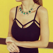 top,black,tank top,jewelry,necklace,ring,green,gold