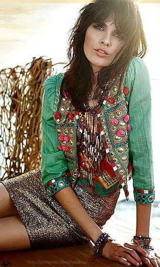 jacket boho jacket green jacket embellished jacket top printed top skirt mini skirt sequin skirt stacked bracelets bracelets boho