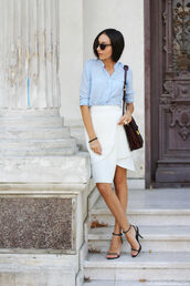 the fashion cuisine,blogger,skirt,shoes,bag,sunglasses,pleated skirt,white skirt,blue shirt,satchel bag,office outfits,pearl,tortoise shell sunglasses